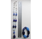 Pretty necklace of blue glass beads, 53 cm in length with matching bracelet.