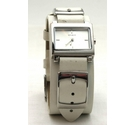 Spirit ladies rectangular wristwatch with chunky wide white strap.