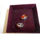 Oval earrings hall marked with amber stone