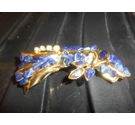 Vintage large yellow toned brooch with dark blue stones and crystal