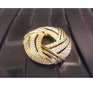 Yellow white gold round brooch