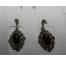 Hallmarked silver drop earrings with marcasite stones