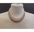 Three colour strands of pearls cream pink gray