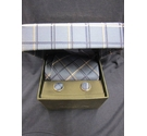 Hetherington Grey Tie with Matching Cufflinks Blue Check Size: Not specified