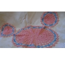 PINK AND BLUE COTTON CROCHETED PLACEMATS X 3
