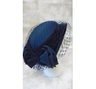 VINTAGE 1980s NAVY HAT WITH NETTING AND BOW