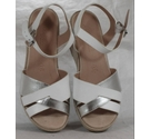 M&S Footglove Wedge Heeled Sandals White/Silver Size: 3
