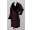 Basler Faux Fur Trim Coat Burgandy Size: L