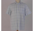St Michael Short-Sleeved Checkered Shirt Powder Blue Size: L