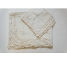 Pure Linen and Lace Embroidered Tablecloth w/10 Napkins