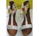 Salt and Pepper Silver floral wedge sandals White Size: 8
