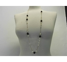 Vintage long chain with pearl & faceted clear beads plus black rose beads