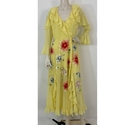 ASOS BNWT Embroidered Long Dress Canary Yellow Size: 10