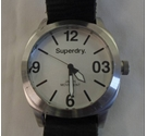 Superdry SYG101TW Watch with Black Leather Strap Stainless Steel Size: L