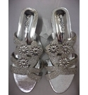 Kelsi Low heel slip on sandals Silver Diamante Size: 6