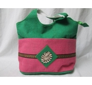 Unbranded NEW Hessian Bag Green and Pink Size: M