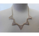 Gold toned vintage necklace with fivehalf triangle drops encrusted with sparkly crystal stones