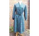 Nicole Lewis Shirtwaist Paisley Dress Green and Red Size: 16