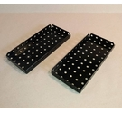 "Free Postage - 2 x Vintage Meccano Black Flanged Plates - Part 52 - 2.5"" x 5.5"" - 11 x 5 holes"
