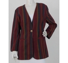 Unbranded Patterned Stripe Jacket Red & Grey Size: 12