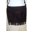 Italian Leather Suede Tassel Bag Brown Size: S