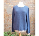 Jaeger Cotton Sweater Blue Size: L