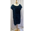 Next Sequin Dress Turquoise Size: 10