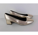 M&S Collection Block Heeled Court Shoes Gold Size: 6.5
