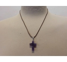 New - Dk Amethyst Gemstone Cross Pendant on Brown Cord Necklace