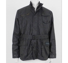 Barbour International Quilted Waxed Cotton Jacket Black Size: XL