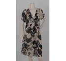 Whistles Floral Print Twist Dress Cream and Black Size: 16