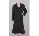 Eastex Boucle Skirt Suit Set Pine Green Size: M