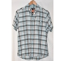 Linea Short Sleeve Shirt Blue Grey Check Size: M
