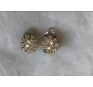 Vintage Silver Coloured Clip On Earrings With Clear Stones