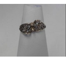 Silver Asymetric Lace Design Ring Size H