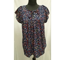 Gap Floral Ruffle Top Navy Size: S