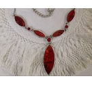 Elegant red sparkly and silver metallic chain necklace