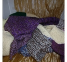 Hand knitted throw/blanket in patchwork squares and rectangles