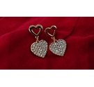 Rose gold metallic and diamante hearts earrings for pierced ears