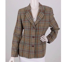 Laura Ashley Wool Tartan Blazer Green & Orange Size: 12