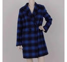 Planet Checked Overcoat Blue Size: 8