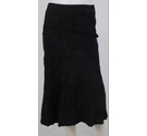 Massimo Dutti Woman Suede Calf-Length Skirt Black Size: S