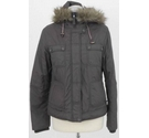 Monsoon Puffer Coat with Fur Trim Brown Size: 12