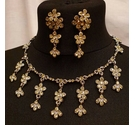 Floral Rhinestone Necklace / Earrings Set