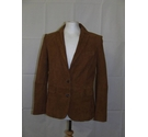 Massimo Dutti fitted goatskin leather suede blazer jacket tan brown Size: M