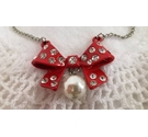 Red and diamante bow and pearl pendant necklace