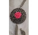Pretty filigree silver metallic pendant with central pink rose on chain necklace