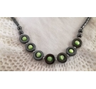 Hematite and lime green iridescent bead necklace