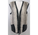 Vintage 1960s faux fur gilet green brown Size: L