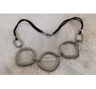 Silver metallic circles on suede thong necklace